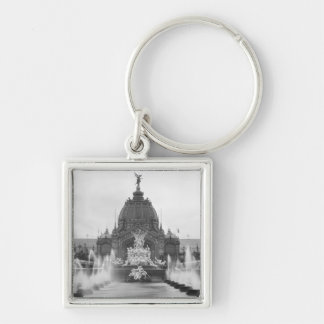 View of the Central Dome and the Fountain Silver-Colored Square Keychain