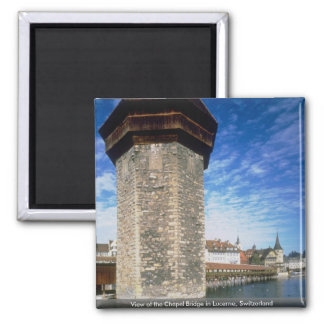 View of the Chapel Bridge in Lucerne, Switzerland Refrigerator Magnet
