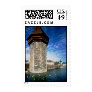 View of the Chapel Bridge in Lucerne, Switzerland Postage Stamps