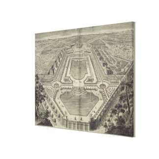 View of the Chateau and Park at Marly, engraved by Canvas Print