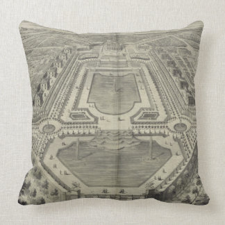 View of the Chateau and Park at Marly, engraved by Throw Pillow
