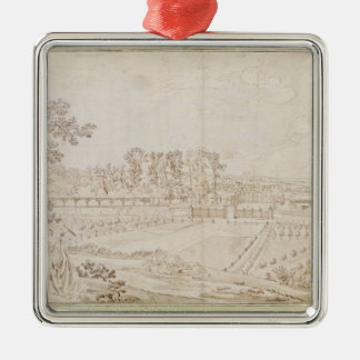 View of the Chateau of Celle-Saint-Cloud, c.1750 Square Metal Christmas Ornament