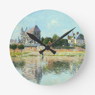 View of the Church at Vernon by Claude Monet Round Clock