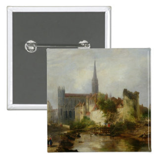 View of the Church of St. Peter, Caen, 1841 Pinback Button