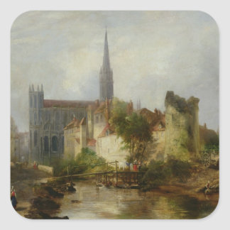 View of the Church of St. Peter, Caen, 1841 Square Sticker