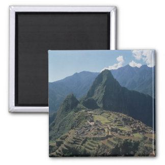 View of the citadel at Machu Picchu 2 Inch Square Magnet