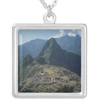 View of the citadel at Machu Picchu Silver Plated Necklace