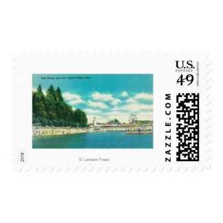 View of the City Beach and Pier Postage Stamp
