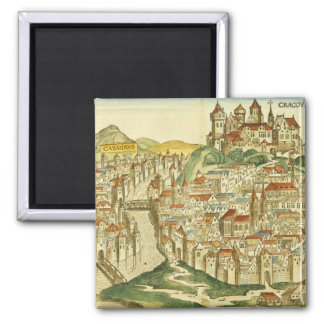 View of the city of Cracow (Kracow), from the Nure 2 Inch Square Magnet