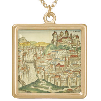 View of the city of Cracow (Kracow), from the Nure Gold Plated Necklace