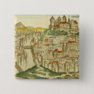 View of the city of Cracow (Kracow), from the Nure Pinback Button