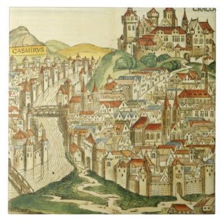 View of the city of Cracow (Kracow), from the Nure Large Square Tile