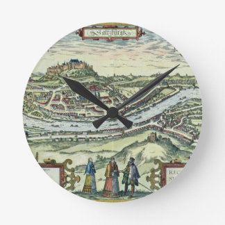 View of the city of Salzburg on the banks of the r Round Clock