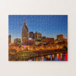 "View of the city skyline at dusk jigsaw puzzle<br><div class=""desc"">View of the city skyline at dusk over the Cumberland River in Nashville Tennessee,  USA 