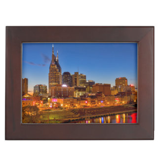 View of the city skyline at dusk memory box