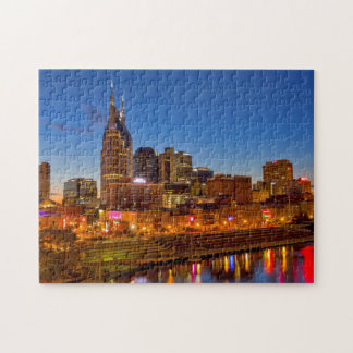 View of the city skyline at dusk puzzle