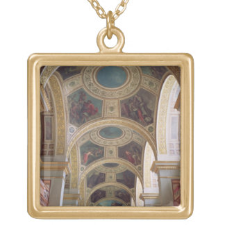 View of the coffered Library ceiling with gilded s Gold Plated Necklace