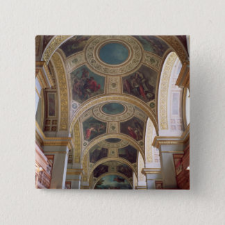 View of the coffered Library ceiling with gilded s Pinback Button