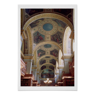 View of the coffered Library ceiling with gilded s Poster