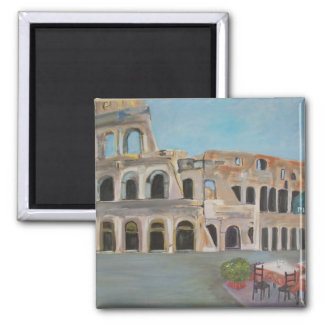 View of the Coliseum in Rome 2 Inch Square Magnet
