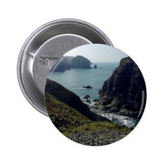 View of the Cornish coast Button