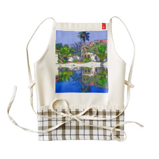 View of the cottages and lagoon water in Alleppey, Zazzle HEART Apron
