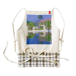 View of the cottages and lagoon water in Alleppey Zazzle HEART Apron