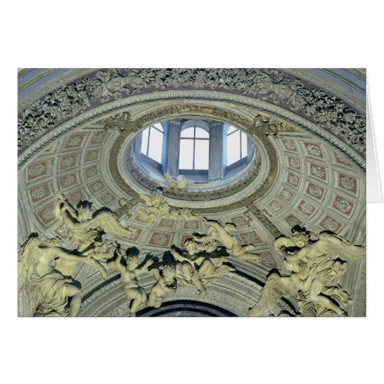 View of the cupola with angel musicians card