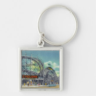 View of the Cyclone Rollercoaster # 2 Silver-Colored Square Keychain