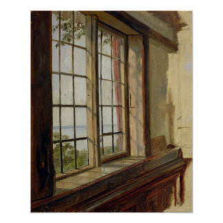 View of the Elbe through a Window, 1838 Print