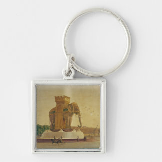 View of the Elephant Fountain Silver-Colored Square Keychain