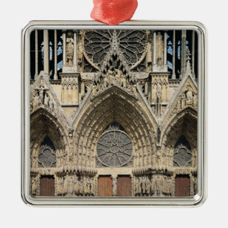 View of the facade, 13th-14th century square metal christmas ornament