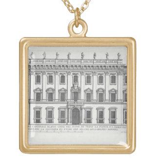 View of the facade of Palazzo Chigi, Rome, designe Square Pendant Necklace