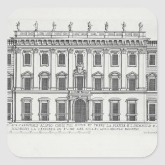 View of the facade of Palazzo Chigi, Rome, designe Square Sticker