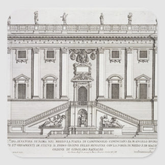 View of the facade of Palazzo Senatorio in Piazza Square Sticker