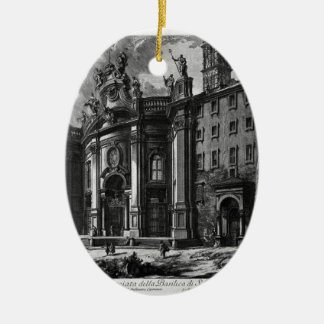 View of the facade of the Basilica of St. Maria Double-Sided Oval Ceramic Christmas Ornament