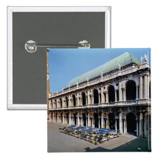 View of the facade of the Basilica Palladiana 2 Inch Square Button