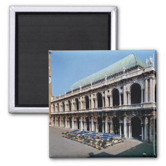 View of the facade of the Basilica Palladiana 2 Inch Square Magnet