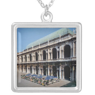 View of the facade of the Basilica Palladiana Square Pendant Necklace