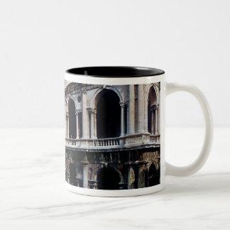 View of the facade of the Basilica Palladiana Two-Tone Coffee Mug