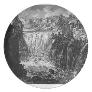 View of the Falls of Tivoli by Giovanni Battista Melamine Plate
