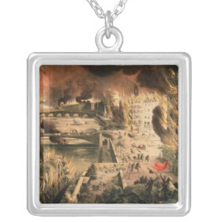 View of the Fires in Paris during the Commune Square Pendant Necklace
