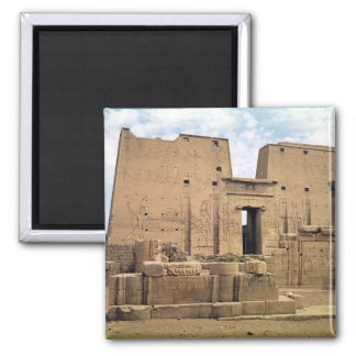 View of the first pylon of the Temple of Horus 2 Inch Square Magnet