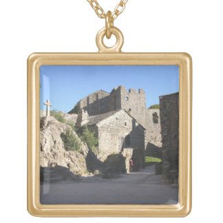 View of the fortified church built by the Knights Gold Plated Necklace