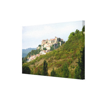 View of the fortified village (photo) stretched canvas print
