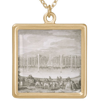 View of the Fountain of Neptune, Versailles (engra Square Pendant Necklace