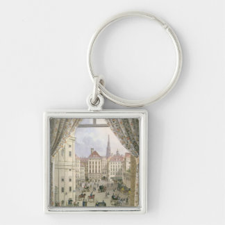 View of the Freyung, Vienna, 1825 (gouache on pape Keychain
