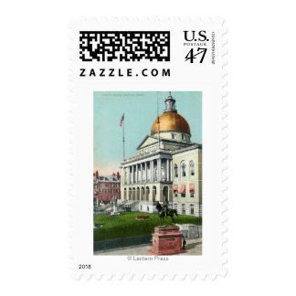 View of the Front Lawn of the State House Stamp