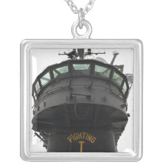 View of the front section of the superstructure square pendant necklace