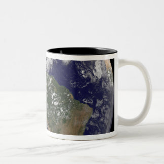 View of the full Earth and four storm systems Two-Tone Coffee Mug